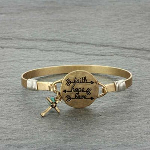 """FAITH, LOVE, HOPE"" Gold Message Bracelet"