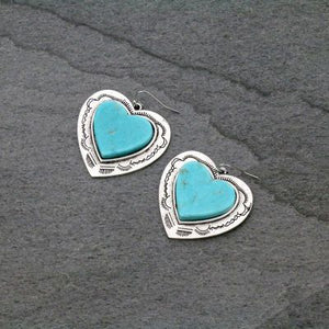 Natural Stone Flat Top Heart Earrings
