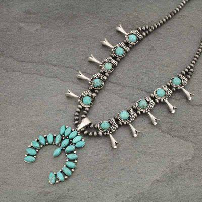 "26"" Full Natural Stone Squash Blossom Necklace"