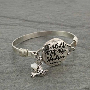 """I WILL NOT BE SHAKEN"" Silver Message Bracelet"