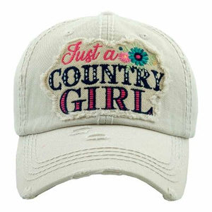 """JUST A COUNTRY GIRL"" Ivory Baseball Cap"
