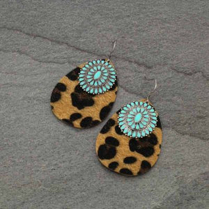 Leather Leopard Print Turquoise Concho Earrings