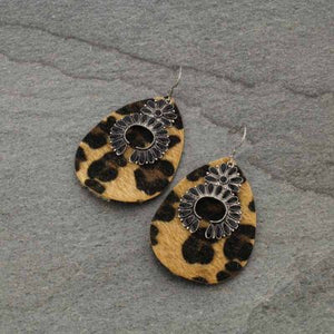 Leather Leopard Print Black Squash Blossom Earrings