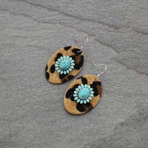 Leather Leopard Print Earrings Turquoise Flower