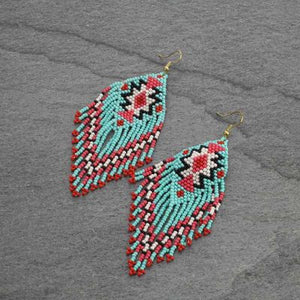 Turquoise Aztec Seed Bead Earrings