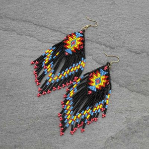 Multi-Color Aztec Bead Earrings