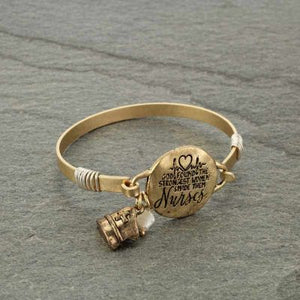 """NURSES"" Gold Message Bracelet"