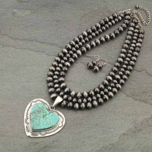 Multi-Strand Navajo Pearl Necklace Heart Pendant