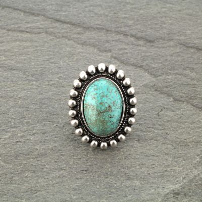 Natural Stone Oval Shape Ring