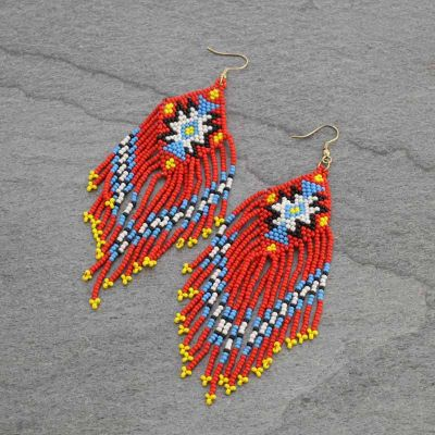 Red Aztec Pattern Bead Earrings