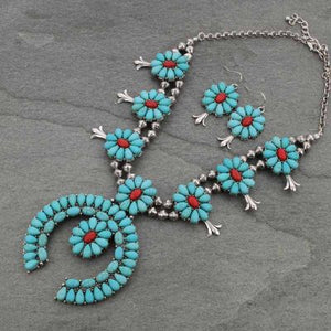 Turquoise/Coral Statement Squash Blossom Necklace