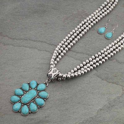 Beaded Concho Necklace Set