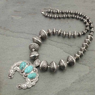 Western Style Navajo Pearl Squash Blossom Necklace