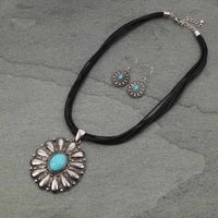 Turquoise Oval Pendant Set