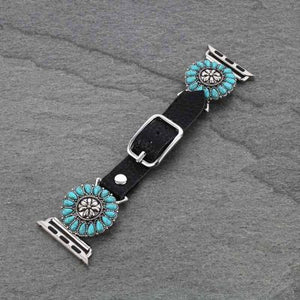 Turquoise/Black Leather Apple Watch Band