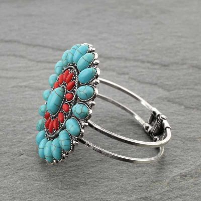 Western Turquoise/Coral Concho Cluster Bracelet