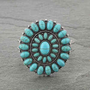 Western Turquoise Concho Cluster Bracelet