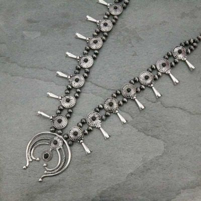 Western Style Silver/Black Squash Blossom Necklace