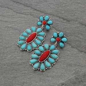 Turquoise & Coral Flower Earrings