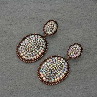 Copper Crystal Embellished Earrings