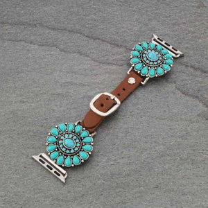 Turquoise/Brown Leather Apple Watch Band (38mm-40mm)