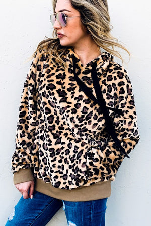 Sherpa Animal Print Fleece Hoodie