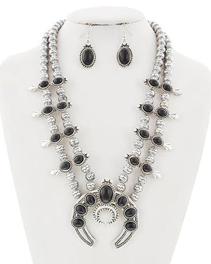 Silver/Black Beaded Squash Blossom Set