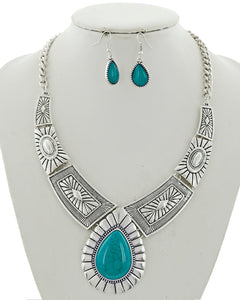 Turquoise Teardrop Statement Necklace