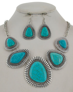 Silver/Turquoise Graduating Statement Necklace Set