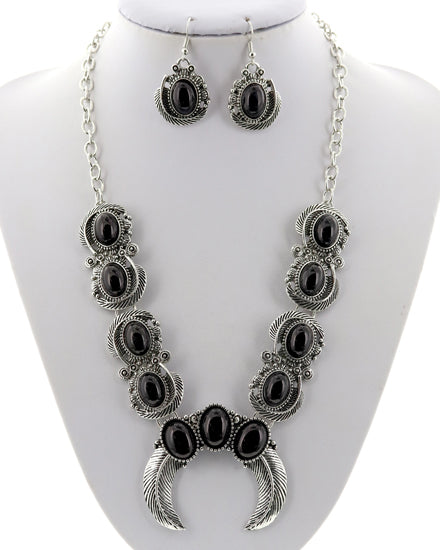 Silver/Black Squash Blossom Necklace/Earring Set