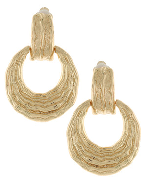 Gold Hammered Clip On Earrings