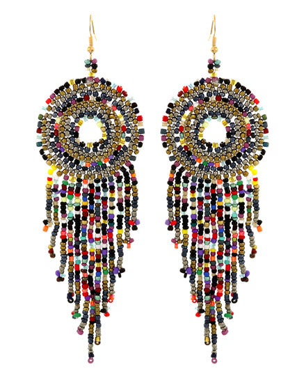 Festive Multi-Color Seed Bead Earrings