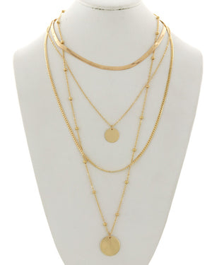 Gold Multi-Strand Charm Necklace