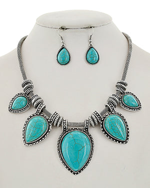 Antique Silver/Turquoise Statement Necklace