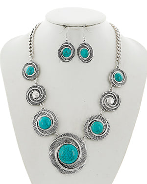Silver/Turquoise Swirl Necklace