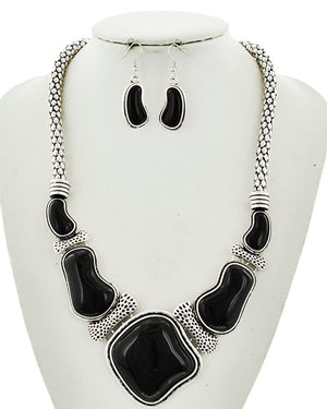 Antique Silver/Black Statement Set