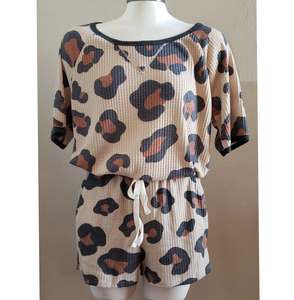 Taupe Leopard Print Waffle Knit Short Set