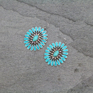 Turquoise Concho Earrings w/Stones