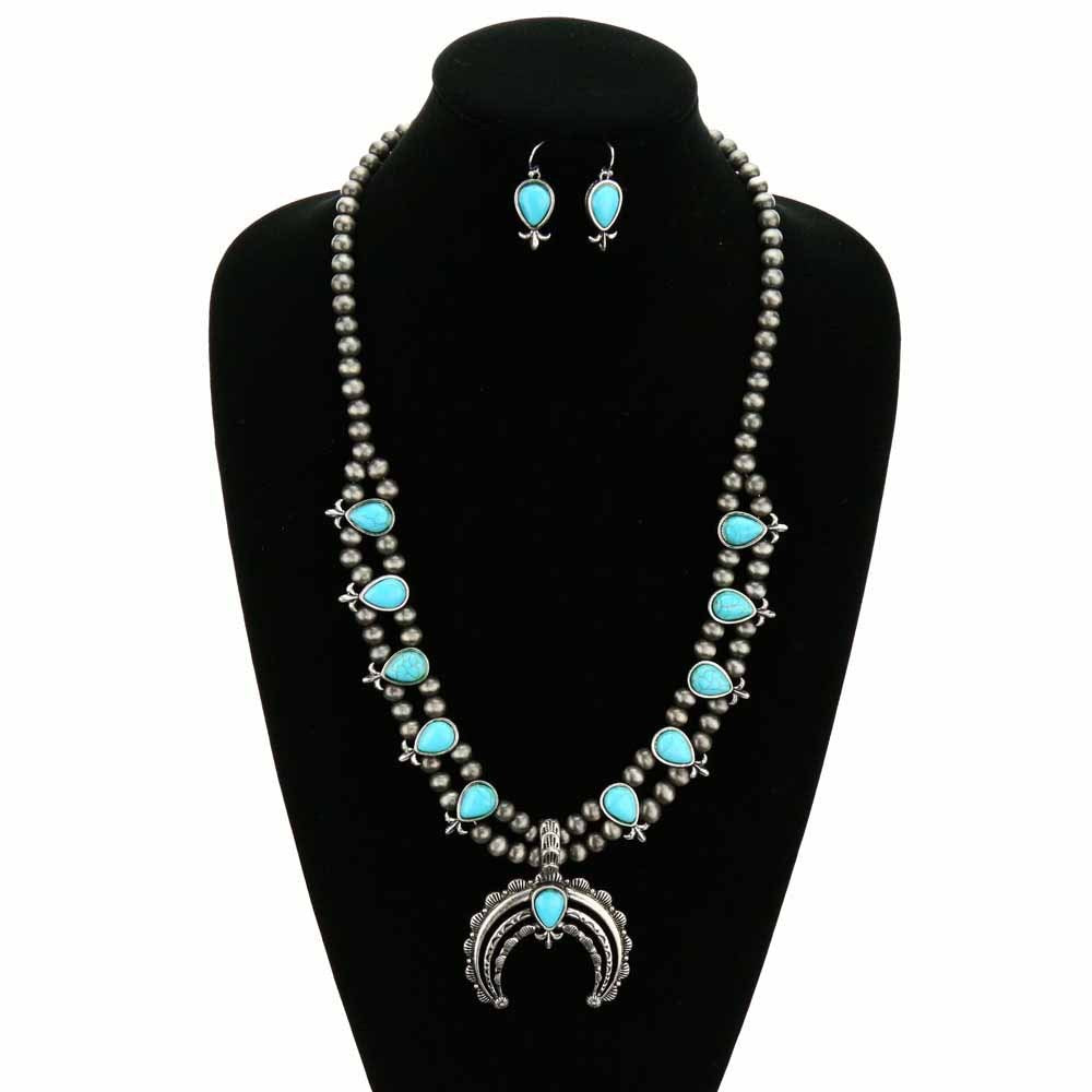 Navajo Style Squash Blossom Necklace Set