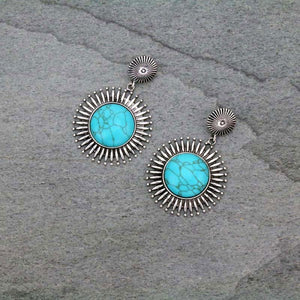 Radiant Circle Stone Earrings