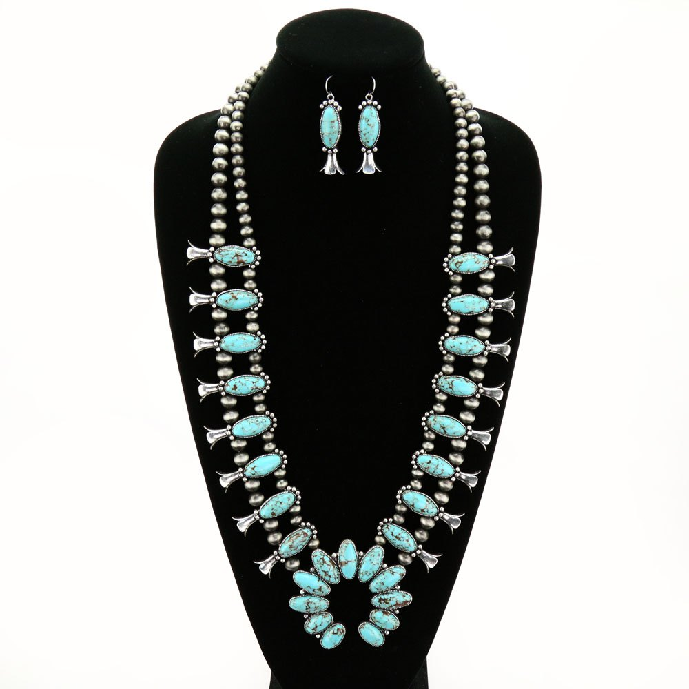 Western Style Squash Blossom Necklace Set