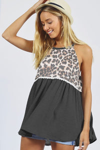 Charcoal/Leopard Print Gathered Halter Top