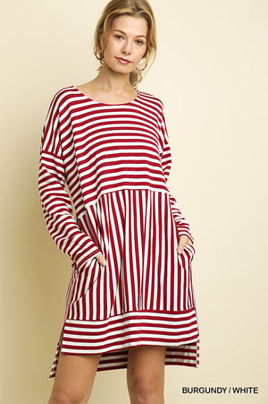 Umgee Burgundy Stripe Dress