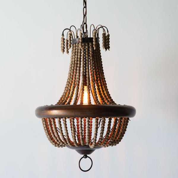 Milos Wood Bead Pendant Lamp