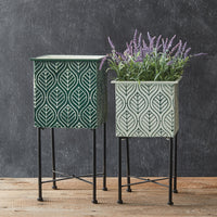 Set of Green/White Square Metal Plant Stands
