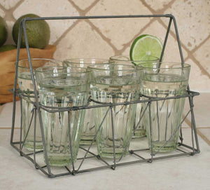 Rectangular Galvanized Wire Caddy with Six Glasses Galvanized