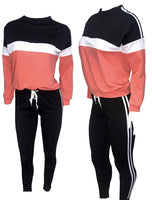 Black/Coral Color Block Jogging Set