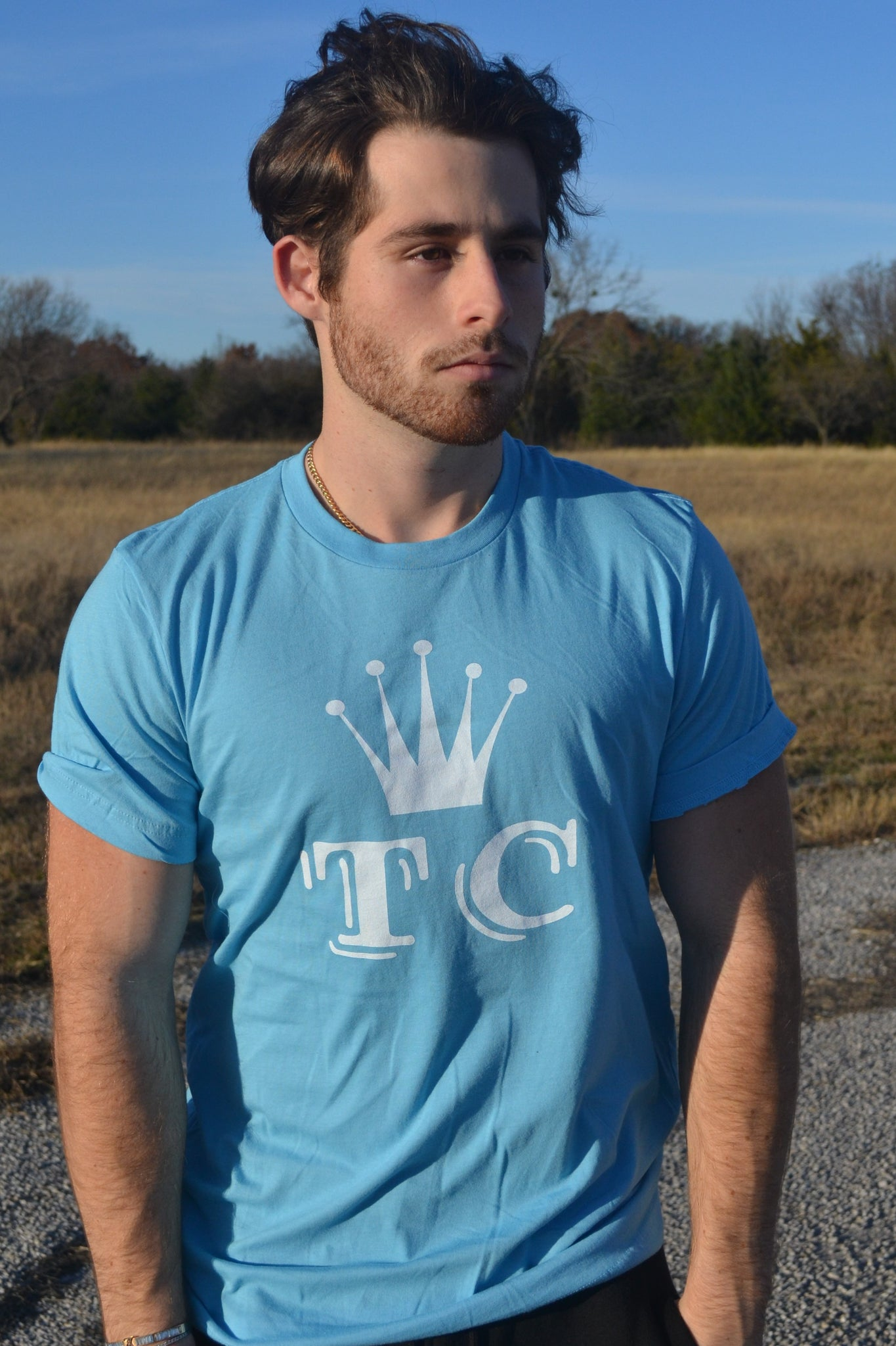 Tilted Crowne Blue Logo Tee