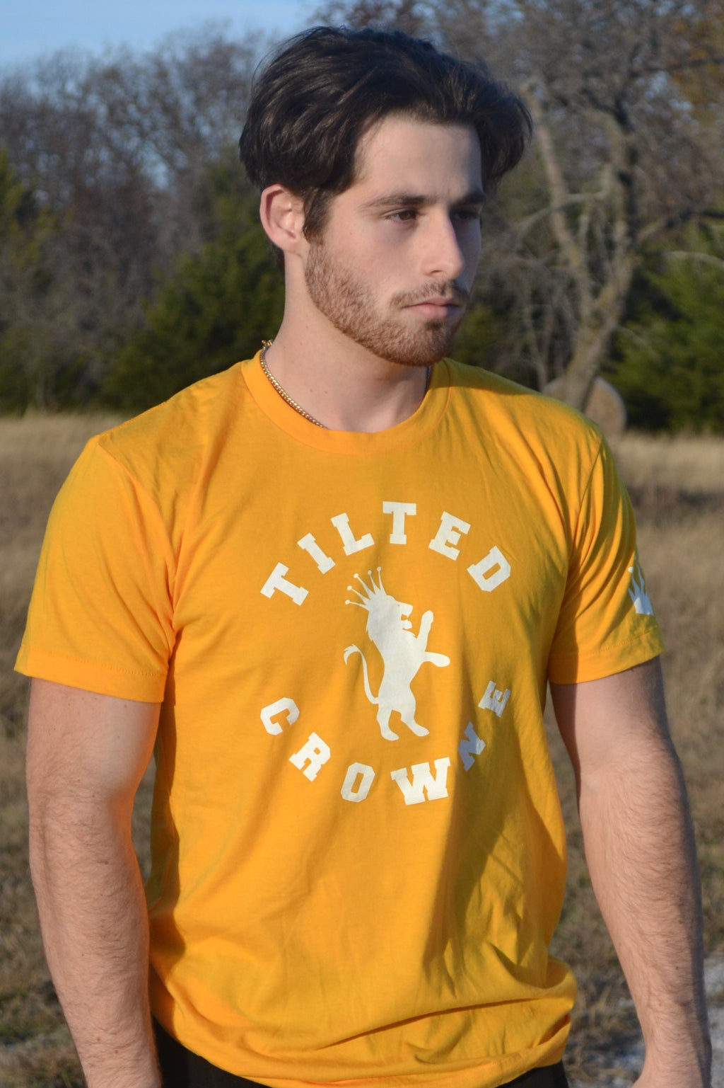 Tilted Crowne Yellow Logo Tee