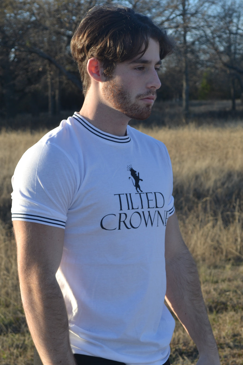 Tilted Crowne Double Stripe Contrast Tee- White
